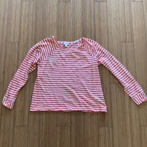 J. Crew long sleeve orange & white stripes
